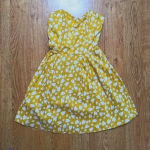 Strapless Yellow & White Petal Dress